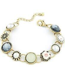 Retro Gold Gemstone Flower Chain Bracelet