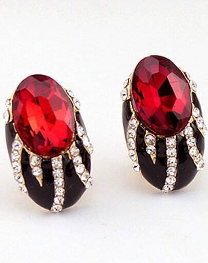 Red Gemstone Gold Diamond Stud Earrings