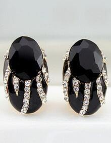 Black Gemstone Gold Diamond Stud Earrings