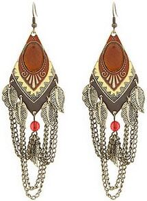 Retro Gold Leaves Chain Dangle Earrings