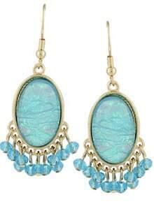 Blue Gemstone Bead Tassel Dangle Earrings