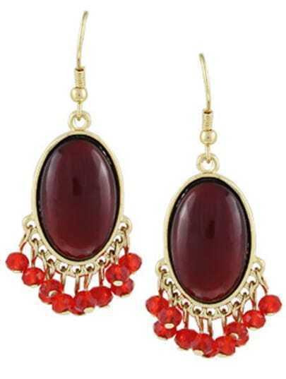 Red Gemstone Bead Tassel Dangle Earrings