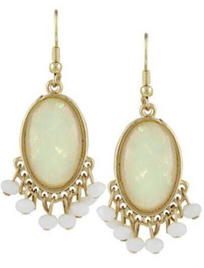 White Gemstone Bead Tassel Dangle Earrings