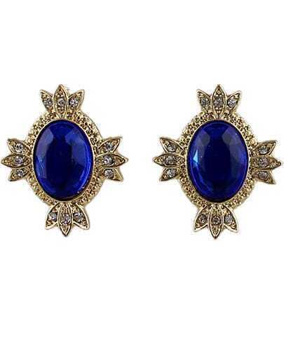 Royal Blue Gemstone Gold Diamond Stud Earrings