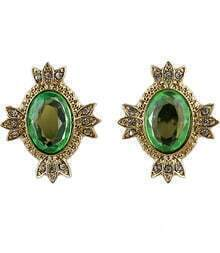 Green Gemstone Gold Diamond Stud Earrings
