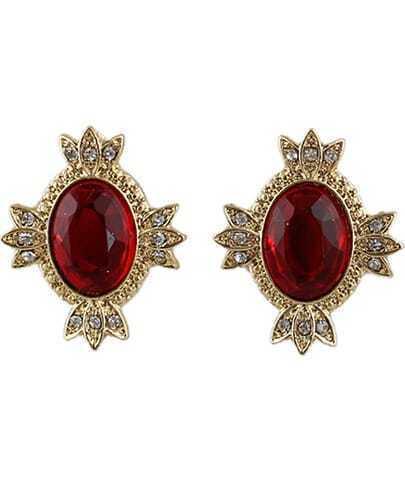 Wine Red Gemstone Gold Diamond Stud Earrings