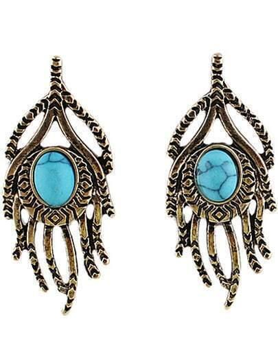 Blue Gemstone Retro Gold Hand Earrings