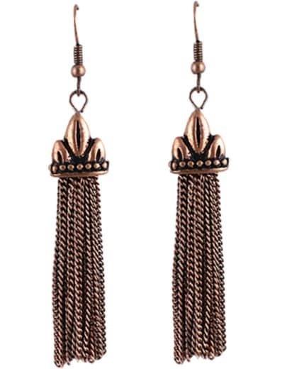 Retro Gold Chain Tassel Dangle Earrings