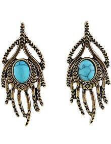 Blue Gemstone Retro Gold Hand Earrings