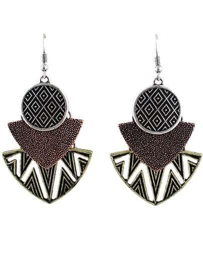 Silver Hollow Geometric Dangle Earrings