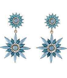 Blue Gemstone Gold Flower Earrings