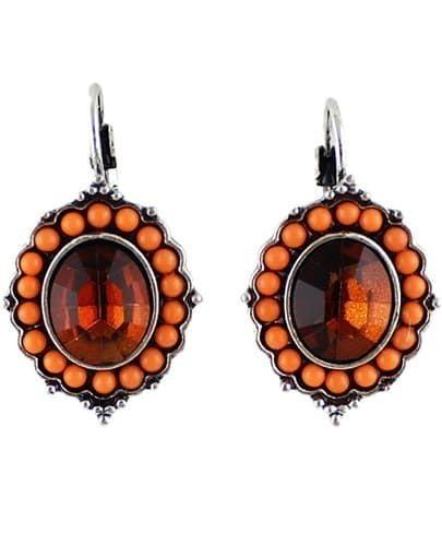 Red Gemstone Silver Bead Dangle Earrings