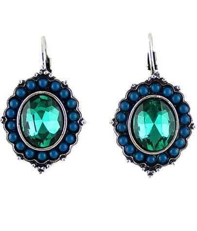 Green Gemstone Silver Bead Dangle Earrings