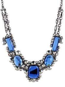 Blue Gemstone Silver Rivet Chain Necklace