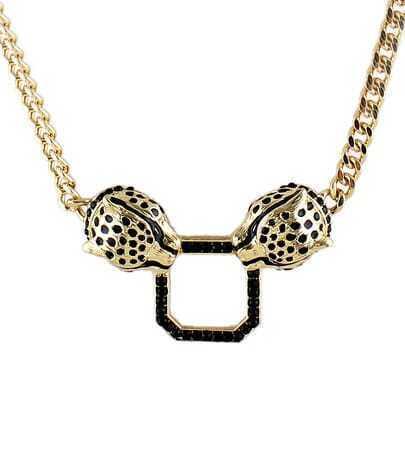 Black Glaze Gold Leopard Chain Necklace