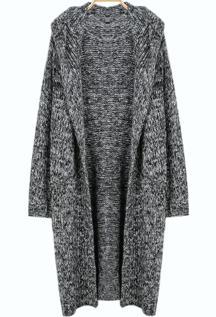 Grey Hooded Long Sleeve Knit Cardigan -SheIn(Sheinside)