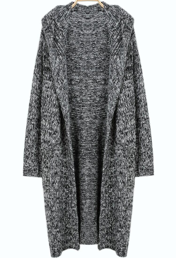Free Knitting Pattern Long Hooded Cardigan : Grey Hooded Long Sleeve Knit Cardigan -SheIn(Sheinside)