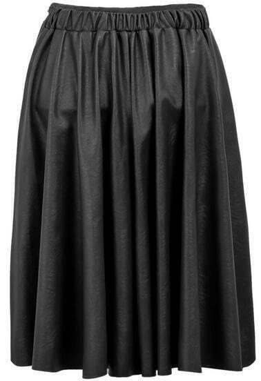 Black Elastic Waist Pleated Leather Skirt