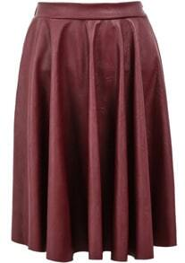 Red Elastic Waist Pleated Leather Skirt