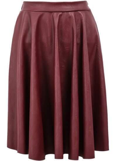 Red Elastic Waist Pleated Leather Skirt