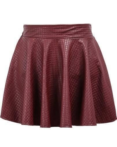 Red Elastic Waist Plaid Pleated Leather Skirt
