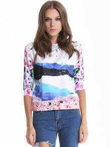 White Three Quarter Length Sleeve Floral Print Sweatshirt