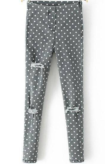 Grey Polka Dot Ripped Slim Denim Pant