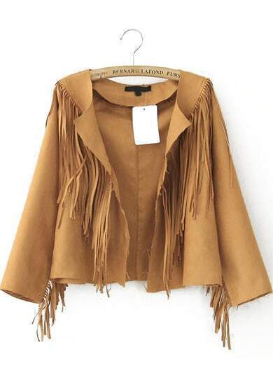 Khaki Long Sleeve Tassel Crop Jacket