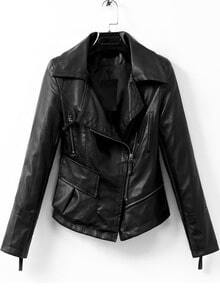 Black Lapel Long Sleeve PU Leather Jacket