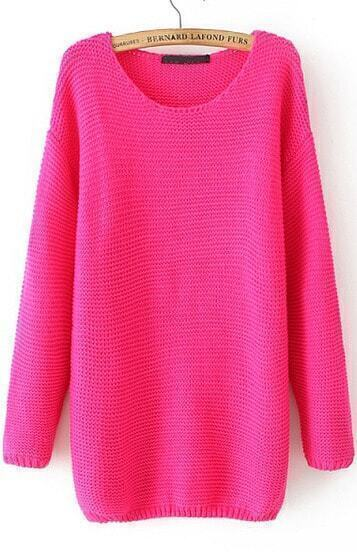 Rose Red Long Sleeve Loose Knit Sweater