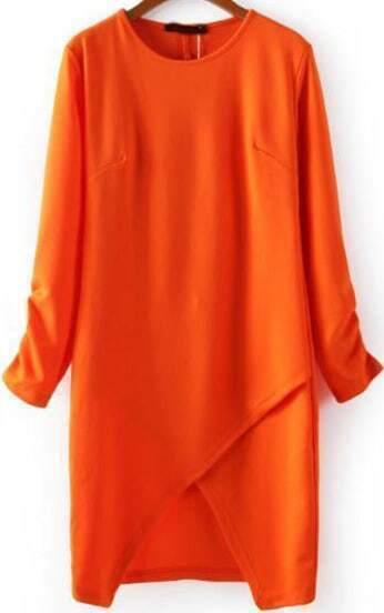 Orange Half Sleeve Split Bodycon Dress