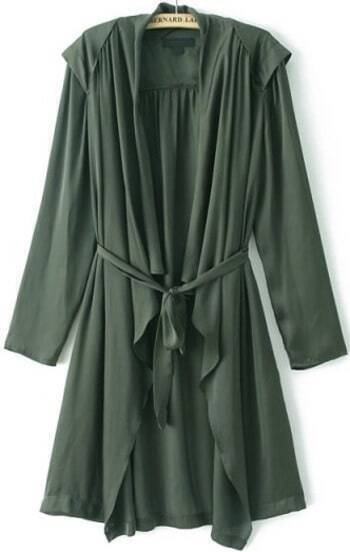 Green Long Sleeve Pleated Trench Coat