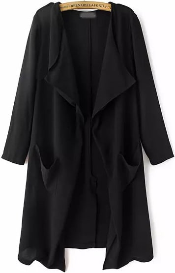 Black Long Sleeve Pockets Loose Trench Coat -SheIn(Sheinside)