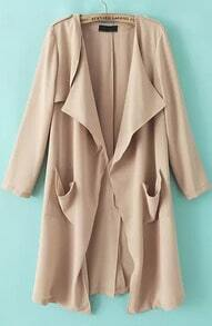 Beige Long Sleeve Pockets Loose Trench Coat