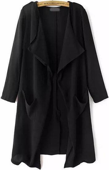 Black Long Sleeve Pockets Loose Trench Coat