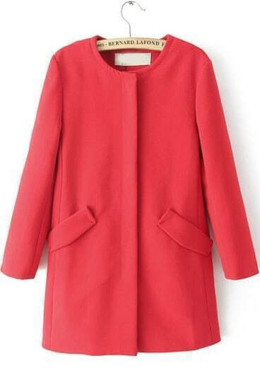 Red Long Sleeve Pockets Loose Coat