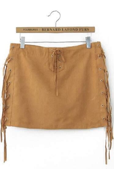 Khaki Bandage Tassel Skirt