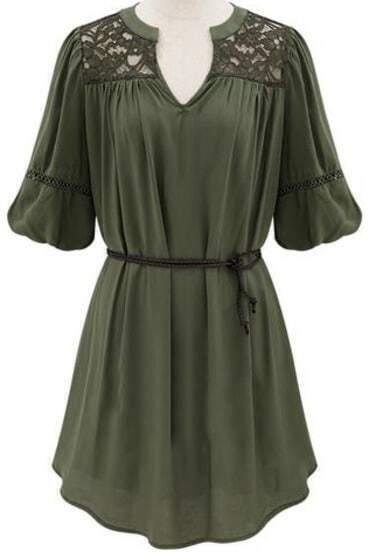 Green V Neck Half Sleeve Lace Loose Dress