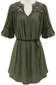 Green V Neck Half Sleeve Lace Loose Dress