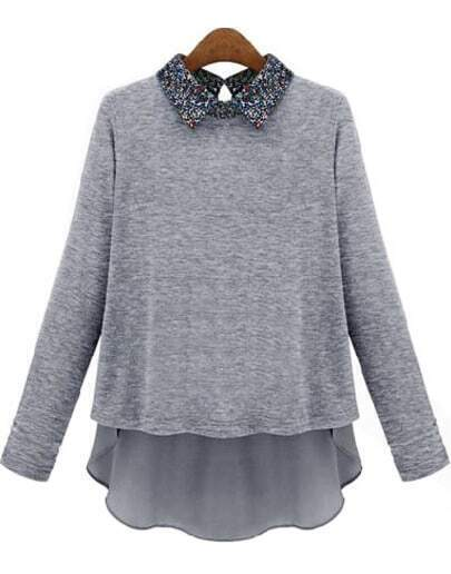 Grey Contrast Floral Lapel Dipped Hem Blouse