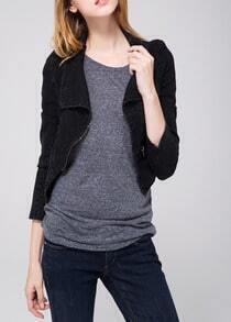 Black Lapel Long Sleeve Crop Denim Jacket