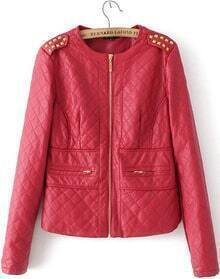 Red Long Sleeve Rivet Epaulet PU Leather Jacket