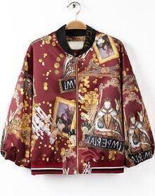 Red Long Sleeve Vintage Print Loose Jacket