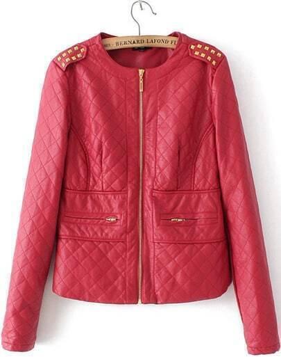 Red Long Sleeve Rivet Epaulet PU Leather Jacket