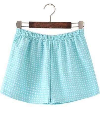 Blue Elastic Waist Polka Dot Shorts