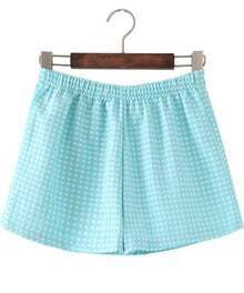 Blue Elastic Waist Polka Dot Shorts