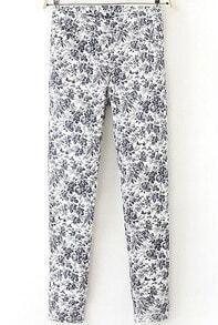 White Floral Slim Pant