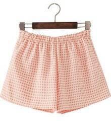 Apricot Elastic Waist Polka Dot Shorts