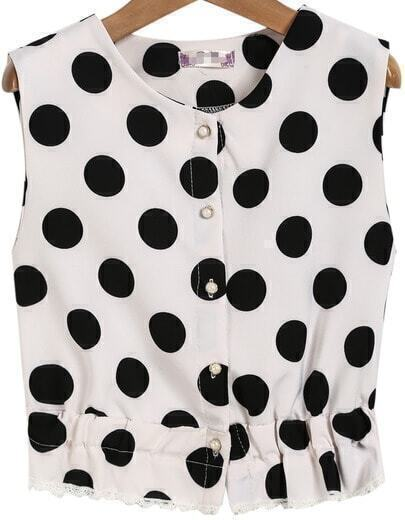 White Sleeveless Polka Dot Lace Vest