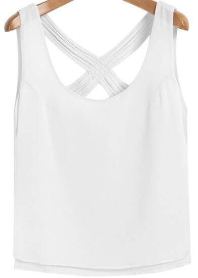 White Criss Cross Chiffon Vest